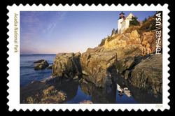 Bass Harbor Head Light at Acadia National Park - Maine United States Postage Stamp | National Parks