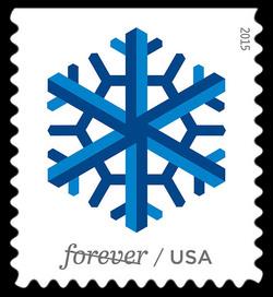 Blue Snowflake United States Postage Stamp | Geometric Snowflakes