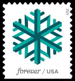 Green Snowflake United States Postage Stamp | Geometric Snowflakes