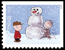 Charlie Brown and Pigpen Making A Snowman United States Postage Stamp | A Charlie Brown Christmas