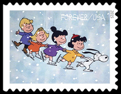 Snoopy and Children Ice Skating United States Postage Stamp | A Charlie Brown Christmas