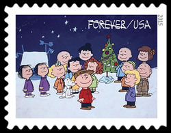 Cast Gathering Around the Christmas Tree United States Postage Stamp | A Charlie Brown Christmas