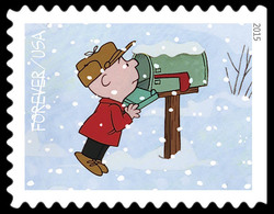Charlie Brown Checking Mailbox United States Postage Stamp | A Charlie Brown Christmas