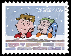 Charlie Brown and Linus Leaning on a Wall United States Postage Stamp | A Charlie Brown Christmas