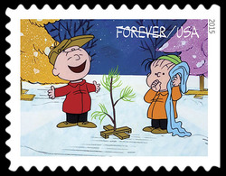 Charlie Brown and Linus Standing by the Tree United States Postage Stamp | A Charlie Brown Christmas