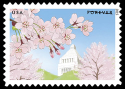 National Diet Building With Cherry Blossoms United States Postage Stamp | Gifts of Friendship