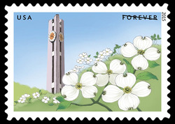 Clock Tower With White Dogwoods United States Postage Stamp   Gifts of Friendship