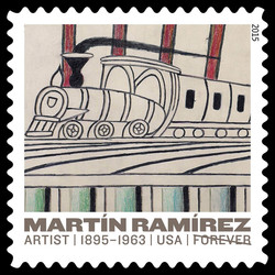 Trains on Inclined Tracks - Circa 1960-1963 United States Postage Stamp | Martin Ramirez