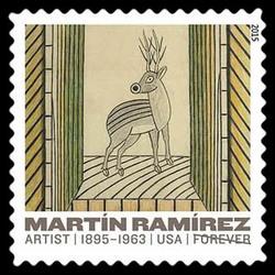 Deer - Circa 1960-1963 United States Postage Stamp | Martin Ramirez