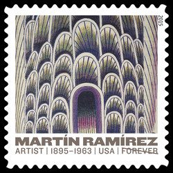 Tunnel With Cars and Buses - 1954 United States Postage Stamp | Martin Ramirez
