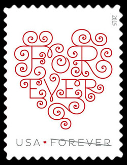 Forever Heart - White United States Postage Stamp | Love