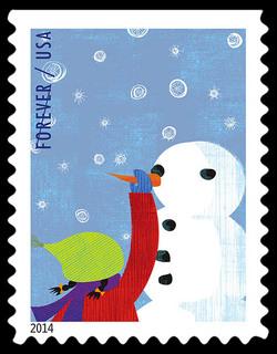 Building Snowmen United States Postage Stamp | Winter Fun