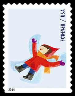 Snow Angels United States Postage Stamp | Winter Fun