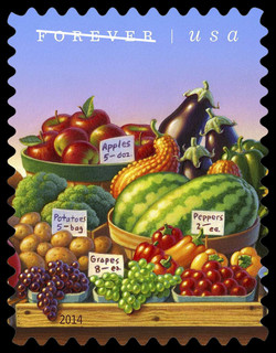 Produce - Fruits and Vegetables United States Postage Stamp | Farmers Markets