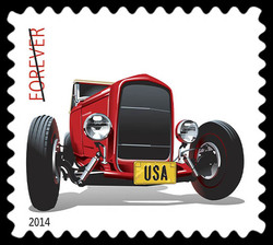 Red 1932 Ford Deuce Roadster United States Postage Stamp | Hot Rods