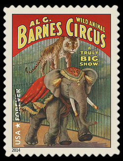 Wild Animals - Elephant and Tiger United States Postage Stamp | Vintage Circus Posters