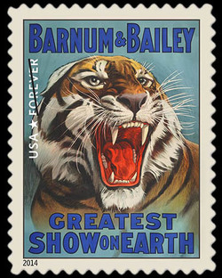 Tiger United States Postage Stamp | Vintage Circus Posters