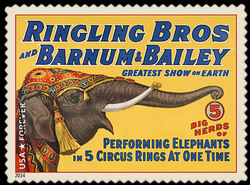 Performing Elephants United States Postage Stamp | Vintage Circus Posters