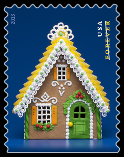Gingerbread House - Green United States Postage Stamp | Gingerbread Houses