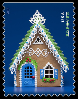 Gingerbread House - Blue United States Postage Stamp | Gingerbread Houses