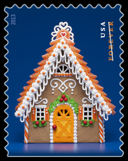 Gingerbread House - Orange United States Postage Stamp | Gingerbread Houses