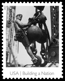 Laborer on a Hoisting Ball at the Empire State Building United States Postage Stamp | Made in America - Building A Nation