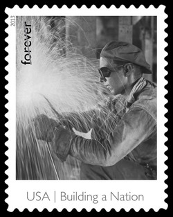 Welder on the Empire State Building United States Postage Stamp | Made in America - Building A Nation