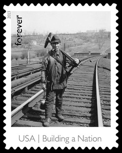Railroad Track Walker United States Postage Stamp | Made in America - Building A Nation