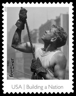 Crew Member Guiding Beam on the Empire State Building United States Postage Stamp | Made in America - Building A Nation
