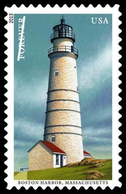 Boston Harbor Lighthouse - Massachusetts United States Postage Stamp | New England Coastal Lighthouses