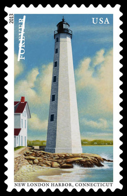 New London Harbor - Connecticut United States Postage Stamp | New England Coastal Lighthouses