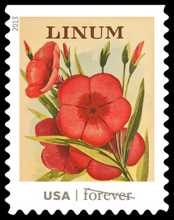 Linum Seed Packet United States Postage Stamp | Vintage Seed Packets