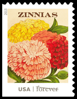 Zinnias Seed Packet United States Postage Stamp | Vintage Seed Packets
