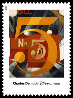 I Saw the Figure 5 in Gold - Charles Demuth United States Postage Stamp | Modern Art in America 1913-1931