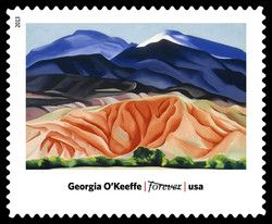 Black Mesa Landscape, New Mexico / Out Back of Marie's II - Georgia O'Keeffe United States Postage Stamp | Modern Art in America 1913-1931