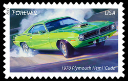 1970 Plymouth Hemi 'Cuda - Muscle Car United States Postage Stamp | America on the Move