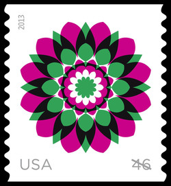 Pink and Green Kaleidoscope Flower United States Postage Stamp | Kaleidoscope Flowers