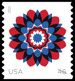 Red and Blue Kaleidoscope Flower United States Postage Stamp | Kaleidoscope Flowers