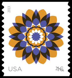 Yellow and Blue Kaleidoscope Flower United States Postage Stamp | Kaleidoscope Flowers
