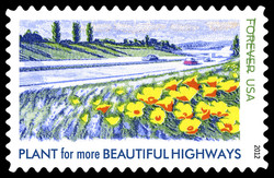 Plant for More Beautiful Highways United States Postage Stamp | Lady Bird Johnson