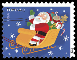 Santa Claus in His Sled United States Postage Stamp | Santa and Sleigh