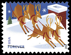 Reindeer Over a Roof United States Postage Stamp | Santa and Sleigh