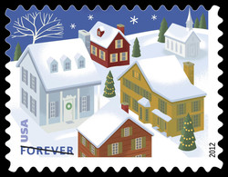 Snow-covered Houses United States Postage Stamp | Santa and Sleigh