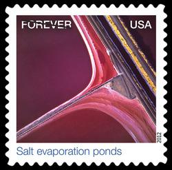 Salt Evaporation Ponds United States Postage Stamp | Earthscapes - Satellite Images