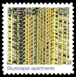 Skyscraper Apartments United States Postage Stamp | Earthscapes - Satellite Images