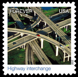 Highway Interchange United States Postage Stamp | Earthscapes - Satellite Images