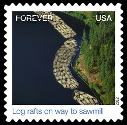 Log Rafts on Way to Sawmill United States Postage Stamp | Earthscapes - Satellite Images