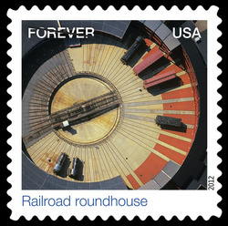 Railroad Roundhouse United States Postage Stamp | Earthscapes - Satellite Images