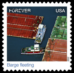 Barge Fleeting United States Postage Stamp | Earthscapes - Satellite Images