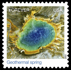 Geothermal Spring - Grand Prismatic Spring United States Postage Stamp | Earthscapes - Satellite Images